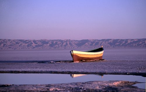 rowing boat on the salt lake