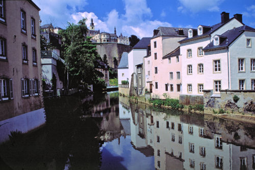 Houses in Luxembourg reflected in the water