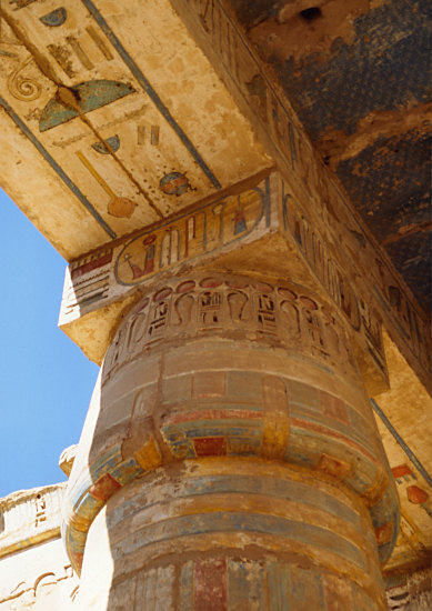 colourful paintings in Medinet Habu