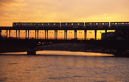 Train on Evening Bridge, Paris