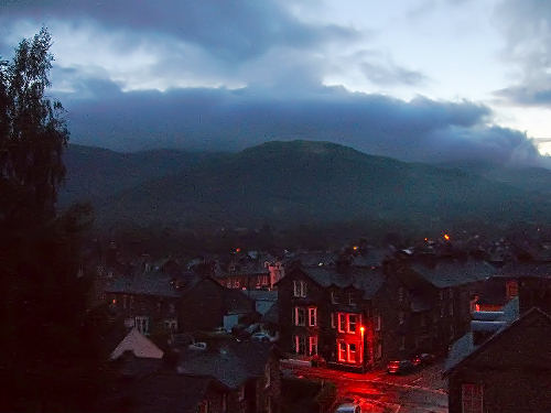 rain falls at night in Keswick, Lake district