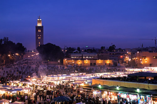Blue hour over Place Jemaa el Fna