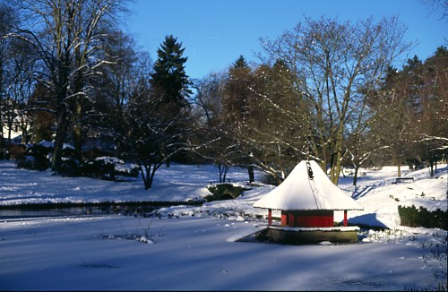 Snow and ice in a park in Wiesbaden, Germany