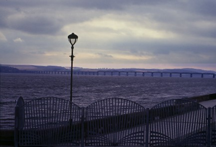 Evening in Dundee, with view of the Tay bridge.
