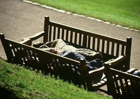 Sleeping in the Park. Edinburgh.