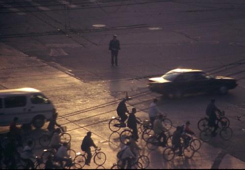 Beijing Traffic: Bicycles at dawn.