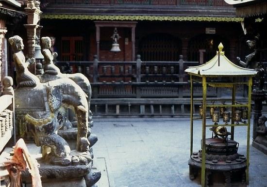 Inside a temple , Kathmandu.