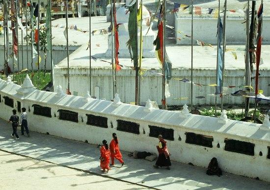 Believers at the Stupa of Bodnath, Kathmandu (Nepal).
