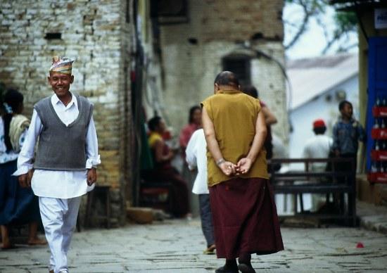 Monk, Svayambunath (Monkey-) Temple, Kathmandu.