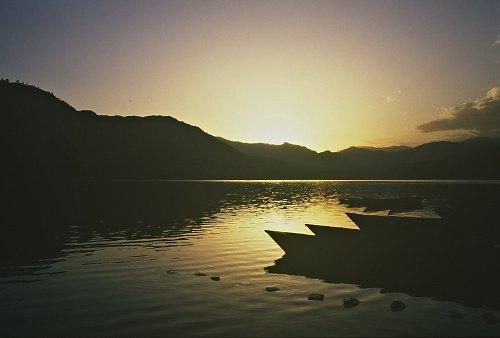 After sunset, Pokhara-Lake.