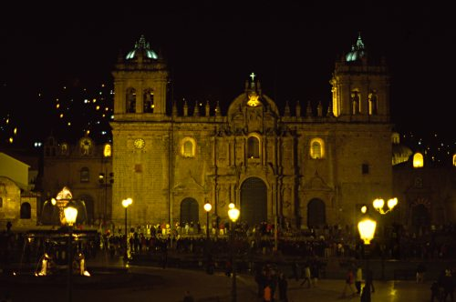 Cuzco Cathedral at Night.