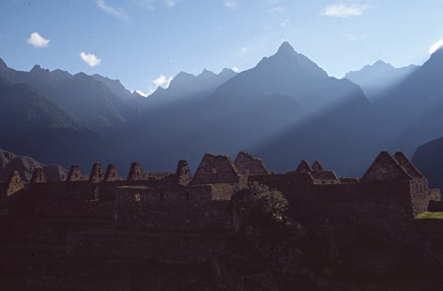 First sunrays in Machu Picchu