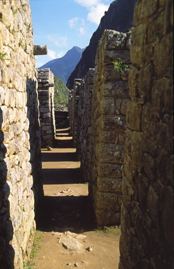 narrow path between the buildings in Machu Picchu.  Photo: L. Bobke