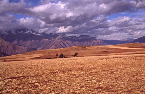 The Andes, fields and clouds at Moray