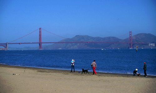 Golden Gate Bridge Walking The Beach Near